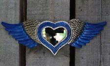 Lovely Tin Milagro Wall Mirror Blue Winged Heart Love Token Mexican Folk Art