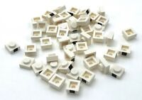 Lego 50 New White Plates 1 x 1 with 1 Black Square Pattern Pieces