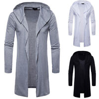 Men Slim Fit Hooded Trench Coat Jacket Jumper Cardigan Long Sleeve Outwear Tops