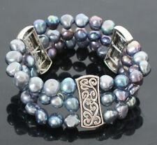 3 Rows Bracelet 8-9 mm Women Tibet Silver Nature Freshwater Pearl Bracelet Gift