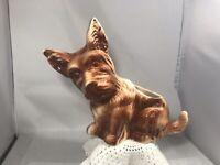 Vintage Art Pottery Brown Cream Scottie Terrier Dog Succulent Planter Ceramic