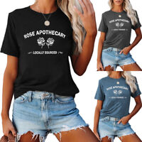 Women's Rose Apothecary Printed T Shirts Graphic Tees Summer Causal Tops Blouses