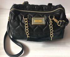 Betsey Johnson Handbag Quilted Hearts Crossbody Satchel Black Tote MSRP $108