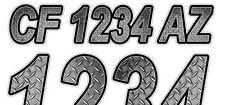 Rustic Diamond Plate Custom Boat Registration Numbers Decals Vinyl Stickers USCG