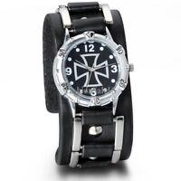 Men's Punk Cool Cross Dial Sport Analog Wrist Watch Black Leather Wide Band Cuff