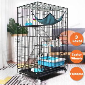 3 Level Pet Rabbit Bird Cage Ferret Parrot Aviary Cat Rat Budgie Hamster Wheel L