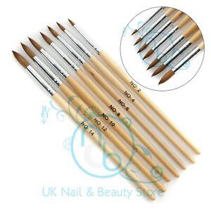 Acrylic Brush Professional Round Sable Nail Art Various Size 2 4 6 8 10 12 14 UK