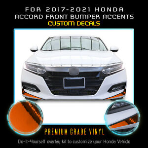 For 2017-2021 Accord Front Bumper Fangs Accent Graphic Decal Chrome Mirror Vinyl