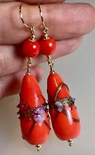 Vintage? Orange Wedding Cake Glass Bead 14ct Filled Yellow Gold Earrings #637