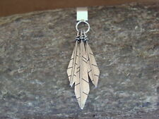 Native American Indian Jewelry Sterling Silver Feather Pendant - Lorenzo Arviso