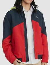 $298 Tommy Hilfiger Mens Red Blue Stand-Collar Hooded...