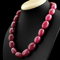 RARE 756.50 CTS EARTH MINED RICH RED RUBY SINGLE STRAND OVAL BEADS NECKLACE