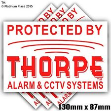 6 x 130 mm Thorpe ALLARME CCTV ™ Security stickers-alarm avvertimento signs-bell BOX, PORTA