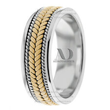 Two Tone Handmade Twisted Ropes Patterned Men's Wedding Ring 10K- 8mm Wide