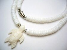 """Hawaii Bone Turtle Pendant 4/5mm White Clam Shell Necklace 18"""" #30044 ( Qty 2 )"""