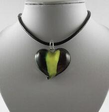 "Handmade Lampwork Glass Stripped Heart Pendant & 18"" Black Leather Cord."