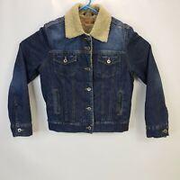 Mavi Jeans Kitty Blue Denim Women's Medium Fur Lined Denim Jacket Outdoors