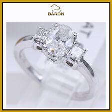 THREE STONE DIAMOND RING PLATINUM TOTAL 1.31 CARAT FINGER SIZE 6.5 (56)