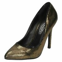 Spot On F9R590 Ladies Court Shoes Bronze UK Size 3 upto 8 (R2A)