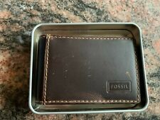 NIB Men's Fossil Front Pocket Wallet ID Bifold  Brown Leather Money Clip