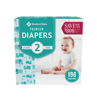Members Mark Size 2 Premium Baby Diapers 196 Count for 12-18 lbs.