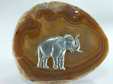 Agate Gemstone Crystal Slice with Pewter Elephant (EA3840) Africa Asia