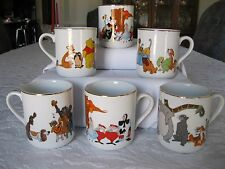 Vintage Set of 6 Coffee Mugs With Disney Characters