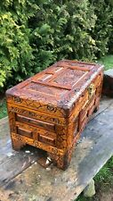 Beautiful Antique Vintage Wooden Chinese Oriental Ottoman Storage Toy Box *