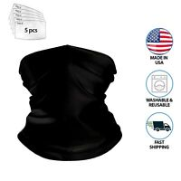 NEW REUSABLE NECK GAITER  SCARF FACE  MASK COVER GUARD+5 FILTERS PM2.5