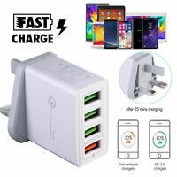 4 Multi-Port Fast Quick Charge QC 3.0 USB Hub Wall Charger Adapter UK EU US Plug