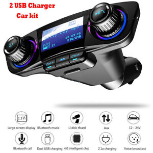 Car FM Transmitter Wireless Bluetooth Handsfree Kit MP3 Player USB Charger AUX~