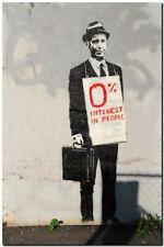 "BANKSY STREET ART CANVAS PRINT Zero Interest in people 16""X 12"" stencil poster"