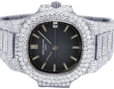 Mens Ladies Patek Philippe Nautilus 37.5MM 3800 Steel VS Diamond Watch 21.0 Ct