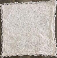 Vintage Battenburg Lace Off White Throw Pillow Cover (1)