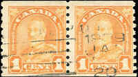Used Canada 1930 1c F PAIR Scott #178 King George V Arch Leaf Coil Stamps