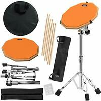 Practice Pad & Snare Stand Bundle - Drum Pad Double Sided with Drumsticks and Dr