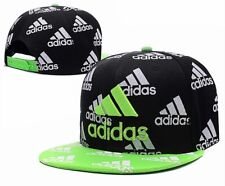Embroidered Adidas 3 Stripes Snapback Flat Cap Black & Green One Size Fits Most