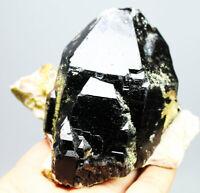 473g Natural Rare Beautiful Black QUARTZ Crystal Cluster Mineral Specimen