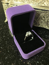 2ct Three Stone Diamond Engagement Ring 14K White Gold Enhanced Size 5.5