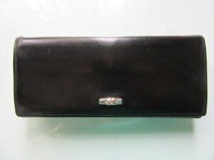 Longchamp Roseau black genuine soft leather wallet clutch purse ex vintage cond.