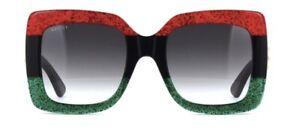 Gucci GG0083 55mm Women's Square Sunglasses - Black/Red/Green