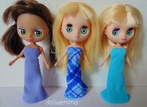 Mini Blythe Doll Clothes 3 BLUE GOWNS Petite & Littlest Pet Shop NO DOLLS d4e