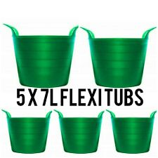 5 FLEXI TUB BUCKET PLASTIC FLEXIBLE TUBS STORAGE CONTAINER FEED TRUG GARDEN