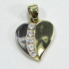 1076 - Feiner Herz Anhänger aus Gold 585 gelb/weiß mit Zirkonia --- 1734