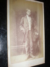 Cdv old photograph man hidden hand cane by Jasper at Stourbridge c1860s