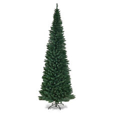 9Ft PVC Artificial Slim Pencil Christmas Tree w/ Stand Home Holiday Decor Green