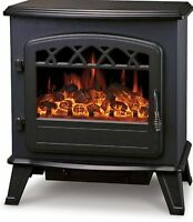 Galleon Fires CASTOR Electric Stove Heater with Log Flame Effect Fire - Black