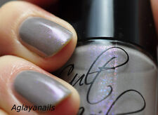 NEW! CULT NAILS Nail Polish Lacquer in DISCIPLINED ~ Grey with Blue Pink Shimmer