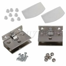 2x Wall-mount Stainless Steel Shower Door Clamp Glass Hinge Clamps Clip For 10mm