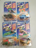 4x Hot Wheels Attack Pack Alien Invaders Vehicle - Mattel 1993 Moc sealed Ovp